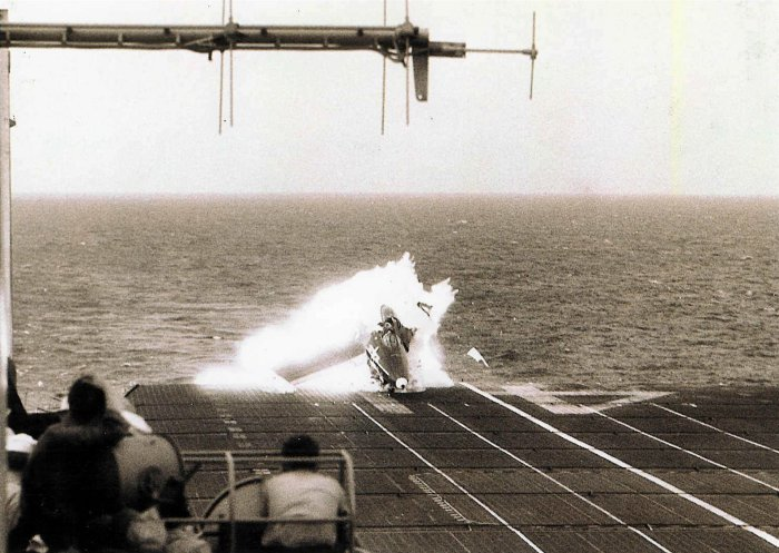 CDR George Duncan's F9F crashing on USS Midway